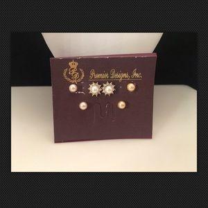 Premier Designs MIMI Faux Pearl Crystal Earrings